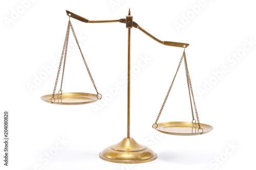 Gold brass balance scale Fototapeta