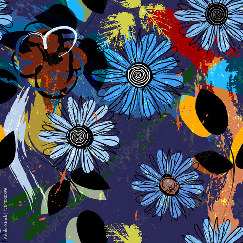 seamless flower pattern background, with blue cornflowers and other summer flowers