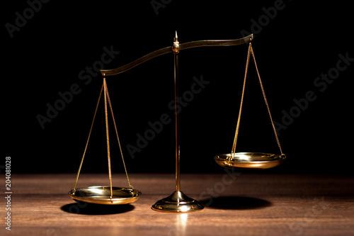 Fotografie, Obraz  Gold brass balance scale