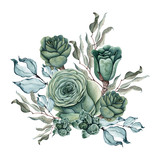 Watercolor succulent bouquet. Isolated on white background. - 204081277