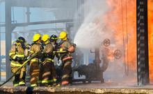 Fire Fighters Battling A Blaze...
