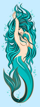 Picture Of A Cute Mermaid With Lush, Long Hair