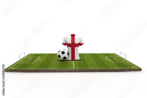 Fotografie, Obraz  England soccer shirt national flag on a football pitch