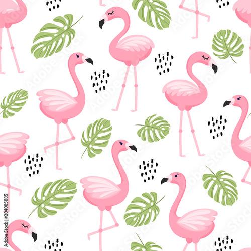 Bezszwowy wzór z tropikalnymi palmowymi liśćmi i flamingiem. Ilustracji wektorowych.