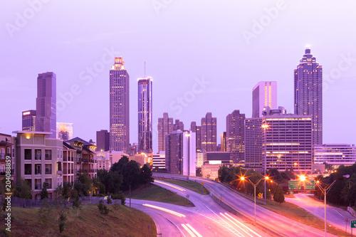 Plakat W centrum linia horyzontu przy świtem, Atlanta, Gruzja, usa