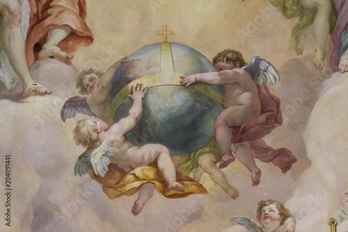 Fototapety, obrazy: Détail de coupole de l'église Saint Charles à Vienne