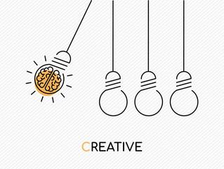 Creative idea concept of brain as light bulb