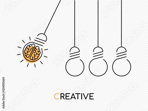 Obraz Creative idea concept of brain as light bulb - fototapety do salonu