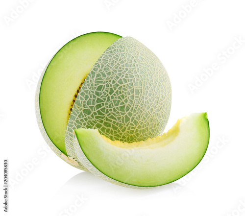 Fototapeta green melon isolated on white background