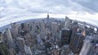 Fish eye aerial morning day to night evening time lapse panorama of Manhattan downtown New York City modern architecture
