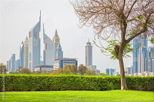 Keuken foto achterwand Stad gebouw Dubai - The Downtown with the Emirates Towers.