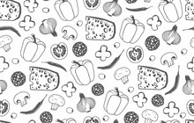 Seamless Pattern With The Ingredients For Pizza Isolated On White Background