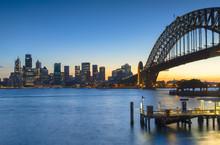 Sydney Harbor Bridge And Skyline At Sunset
