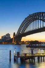 Sydney Harbour Bridge And Skyline At Sunset
