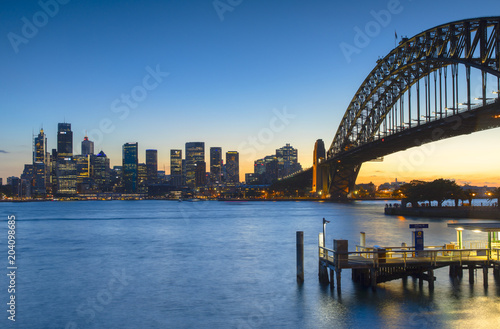 Poster Bruggen Sydney Harbour Bridge and skyline at sunset, Sydney, New South Wales, Australia