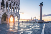 Venice, Veneto, Italy. Sunrise Through The Arches Of Doge's Palace In Piazzetta San Marco.