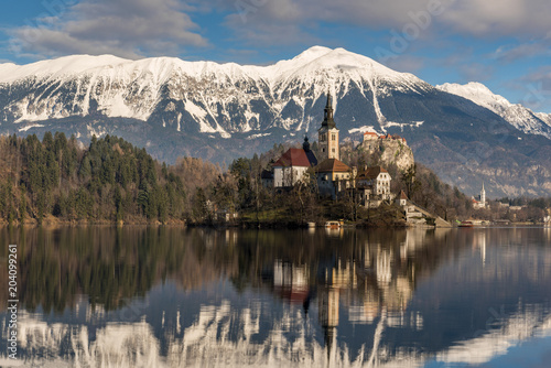 Foto op Aluminium Oost Europa Church of the Assumption of Mary, Lake Bled, Upper Carniola, Slovenia