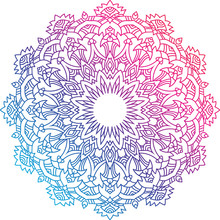 Colorful Round Mandala With Oriental Ornament.