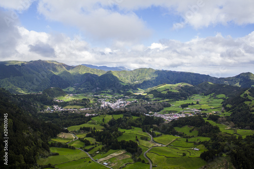 Tuinposter Blauwe hemel Azores landscape aerial view