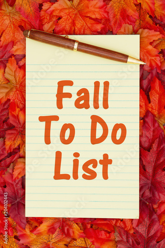 Autumn time To Do List with a yellow notepad and fall leaves Poster