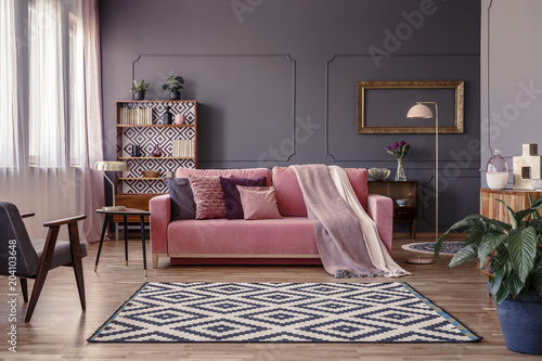 Fotografie, Obraz  Pink sofa with two blankets and cushions standing in sitting room interior with