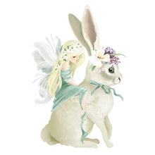 Beautiful Hand Painted Oil Fairy Riding The Enchanted Bunny With Floral Bouquet, Flowers Wreath Isolated On White