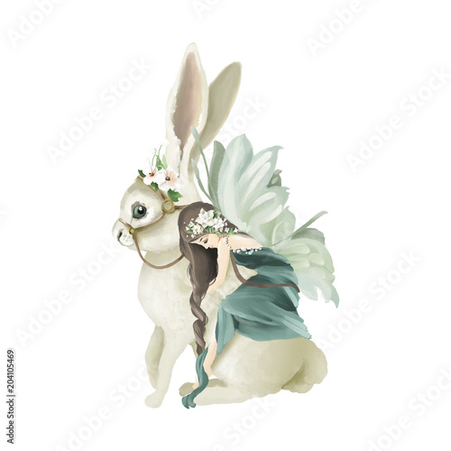 Carta da parati Beautiful hand painted oil fairy riding the enchanted bunny with floral bouquet,