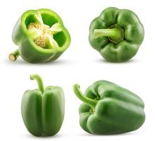 Set Green Bell Pepper Cut In Half, Whole