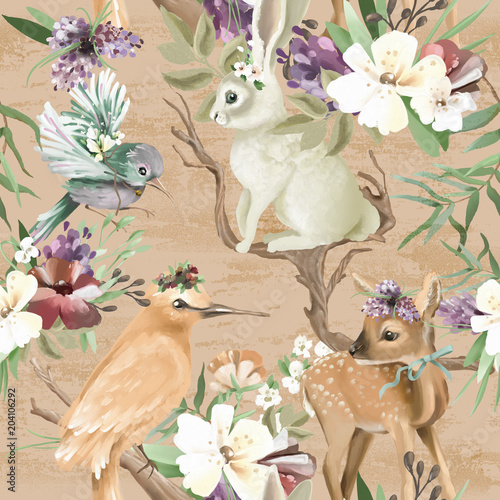 Beautiful, vintage, enchanted woodland, forest animals and birds with flowers, old wood branches and bows seamless, tileable pattern Fototapet