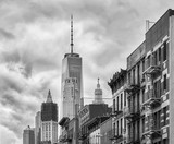 Black and white picture of Manhattan architecture, New York City, USA. - 204111656