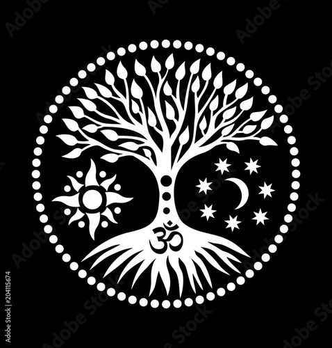 Mandala With The Tree Of Life And The Sign Of Aum Ohm