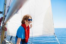 Young Man Sailing. Teenager Bo...