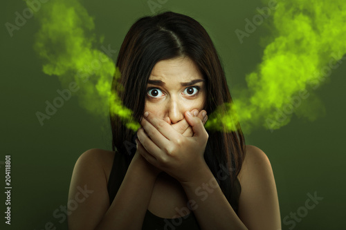 Fotografie, Obraz  Halitosis concept of woman with bad breath