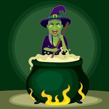 Old Evil Witch Preparing Magic...
