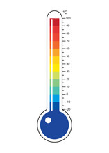 Thermometers Icon With Different Zones. Clipart Image Isolated On White Background