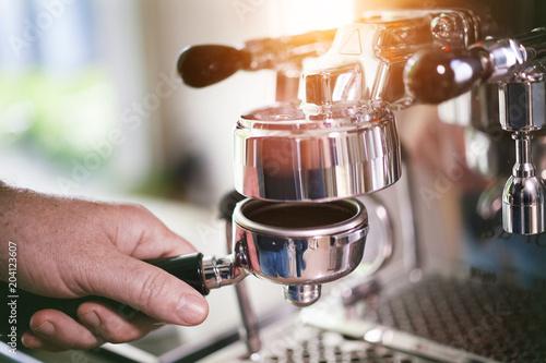 Obraz na plátně Coffee Filter holder preparation for fresh espresso