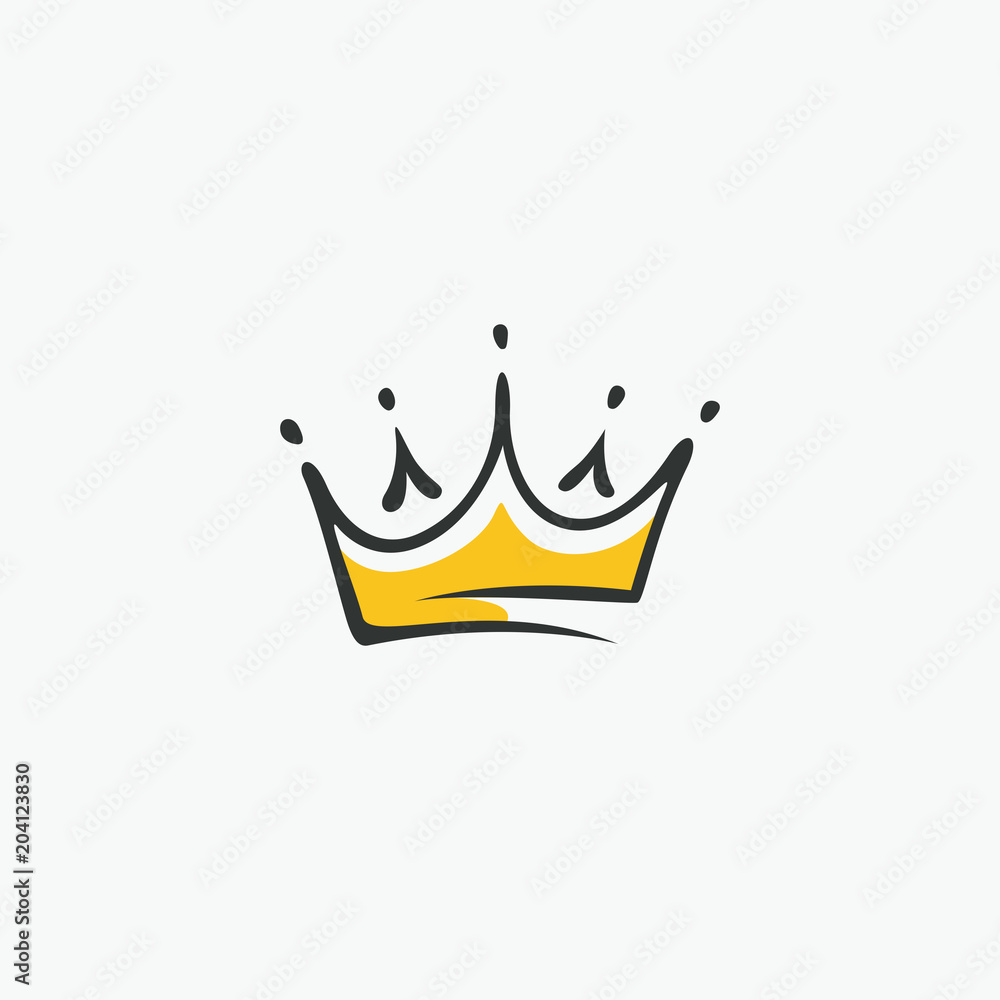 Fototapeta Graphic modernist element drawn by hand. royal crown of gold. Isolated on white background. Vector illustration. Logotype, logo