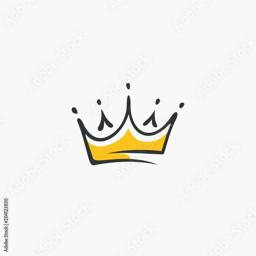 Obraz Graphic modernist element drawn by hand. royal crown of gold. Isolated on white background. Vector illustration. Logotype, logo - fototapety do salonu