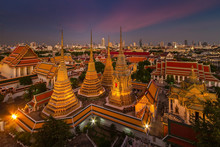 Wat Pho Temple At Twilight, Ba...