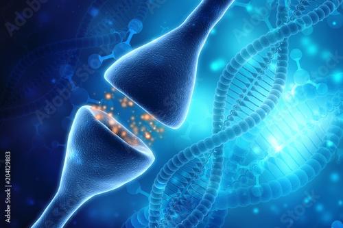 Digital illustration of Synapse in Medical background  3d