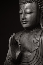 The Black-and-white Image Of Pacified And Obtained An Enlightenment Buddha, With The Hand Raised, As If Would Speak To Us - All Right.