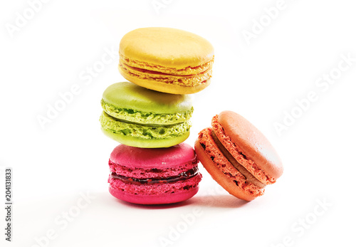 Foto op Plexiglas Macarons Fresh bright colored Macarons, or macaroons isolated on white