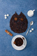 Coffee composition owl cup of coffee milk sugar spoons cinnamon