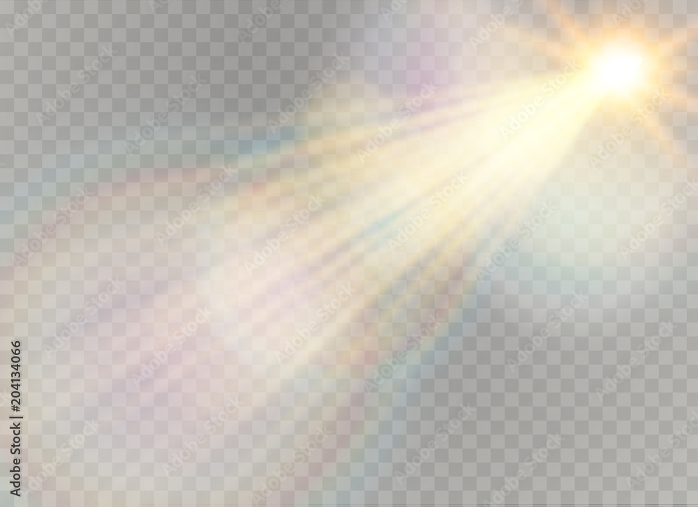 Fototapeta Vector transparent sunlight special lens flare light effect. Christmas abstract pattern. Sparkling magic dust particles