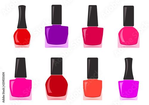 Fotografie, Obraz  Colorful set of nail polish bottle. Vector illustration