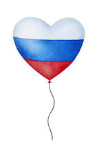 Heart Shaped Air Balloon With Russian Country Flag. One Single Object, Tricolor Striped Pattern, Waving String. Hand Drawn Water Color Painting On White Background, Colorful Isolated Clip Art.