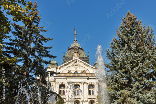 Foto op Aluminium Theater Singing Fountain and State Theater in Kosice Old Town, Slovakia.