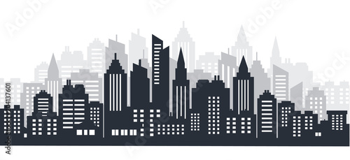 Fotobehang Grijze traf. City silhouette land scape. City landscape. Downtown landscape with high skyscrapers. Panorama architecture Goverment buildings illustration. Urban life