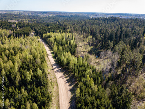 Deurstickers Zwart drone image. aerial view of rural area with fields and forests and gravel roads seen from above