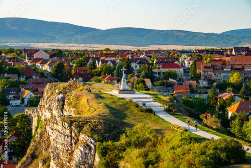 Aerial view of monument from Castle hill in the evening in Veszprem, Hungary Tablou Canvas